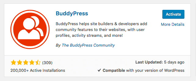 Activate BuddyPress