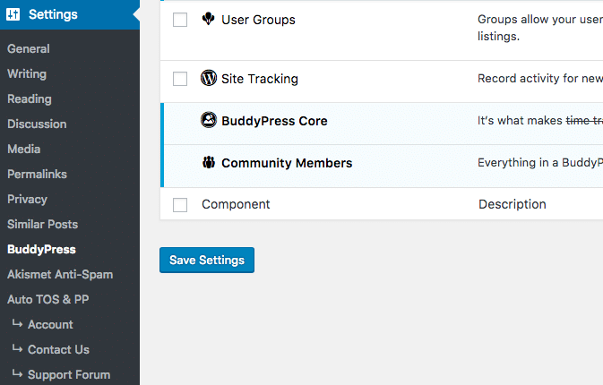 BuddyPress Settings Menu