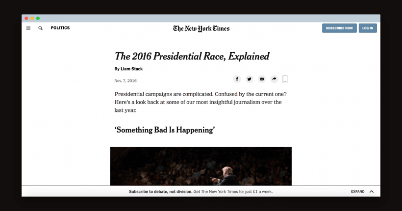 The New York Times covering the 2016 presidential election.
