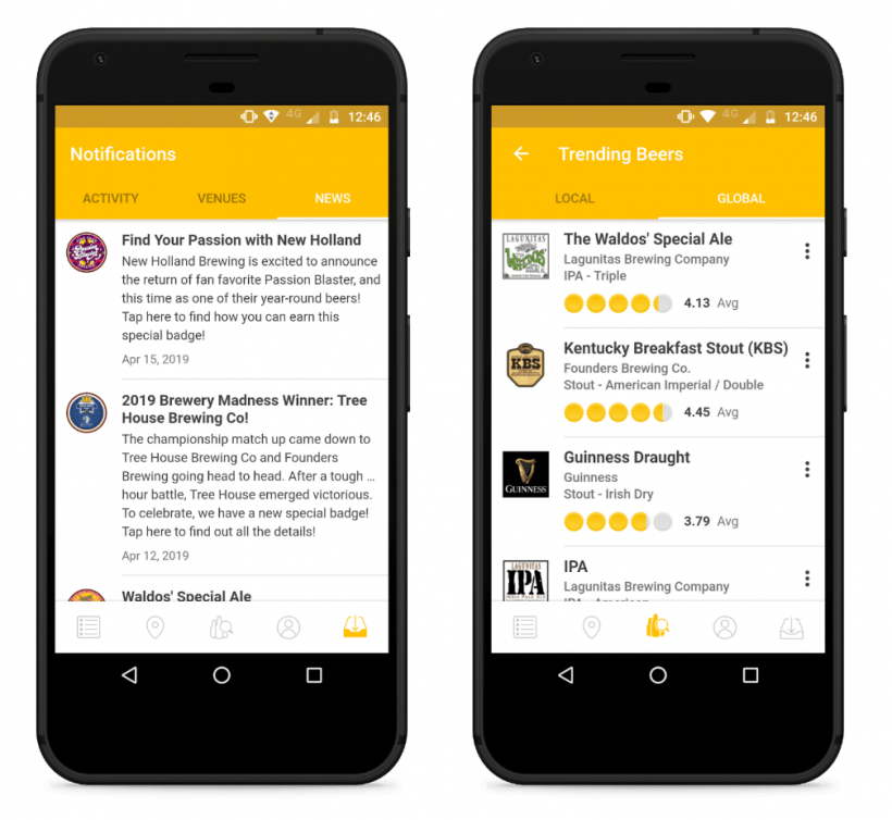 untappd hybrid mobile app example