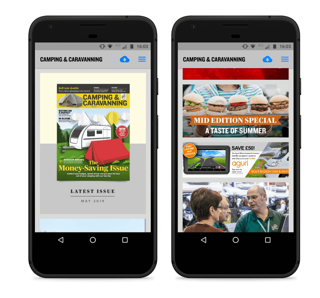 Screenshot of the camping and caravanning app - made with twixl publisher