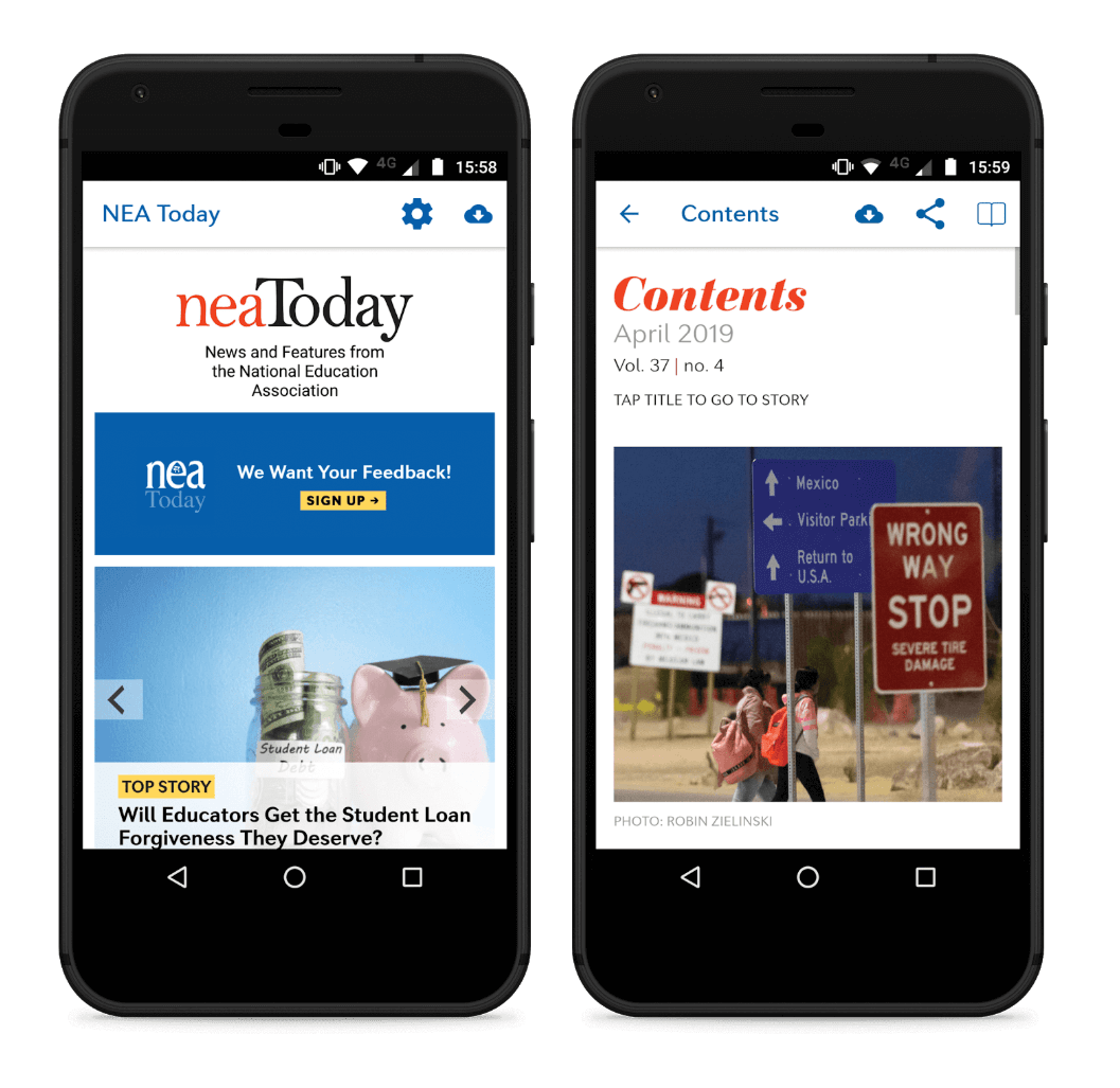 A screenshot of the neaToday app made with Twixl publisher