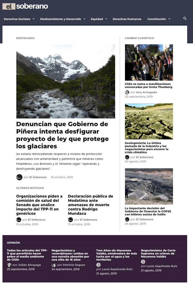 Chilean news site El Soberano was the first site to relaunch on Newspack in October 2017