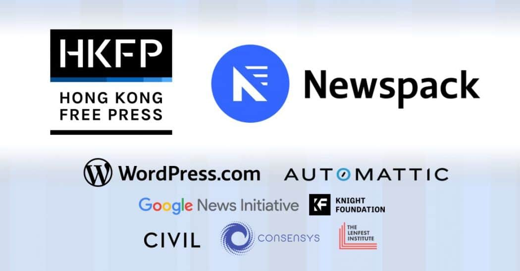 An image showing from Hong Kong Free Press showing that they are working with Newspack (relaunching in 2020)