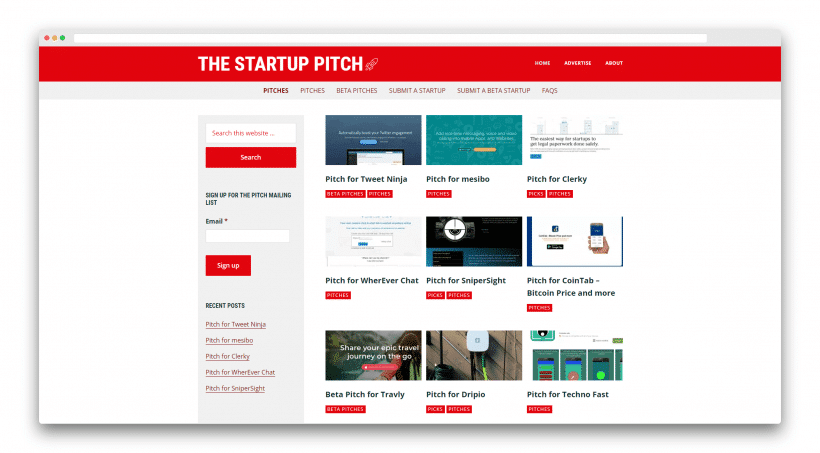 Launch your app on The Startup Pitch